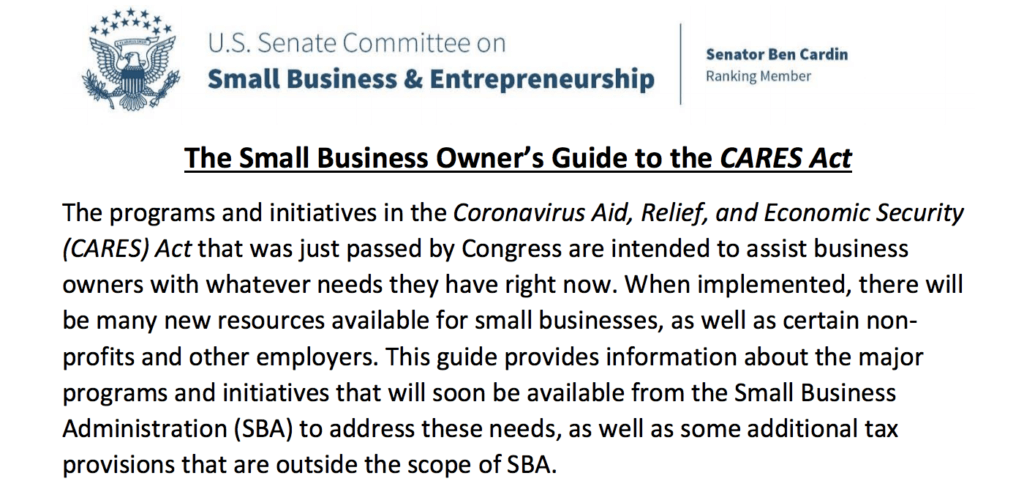 $10k Quick Grant from the SBA and other features of the CARES Act
