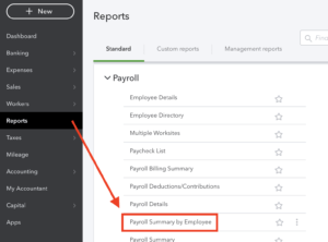 Payroll Summary by Employee Report in Quickbooks Online